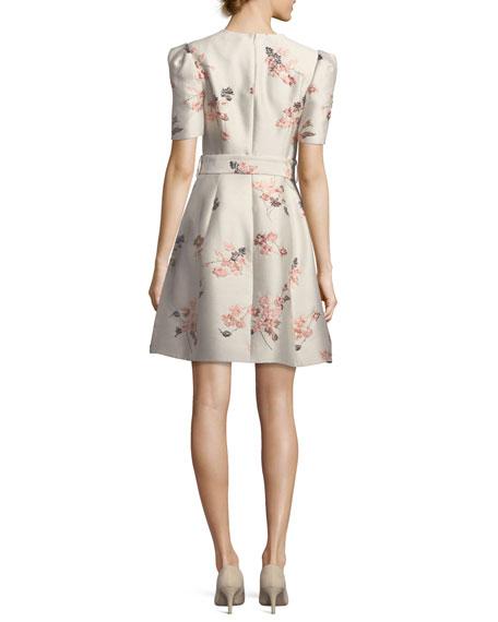 V-Neck Short-Sleeve Belted Fit-and-Flare Floral Jacquard Dress
