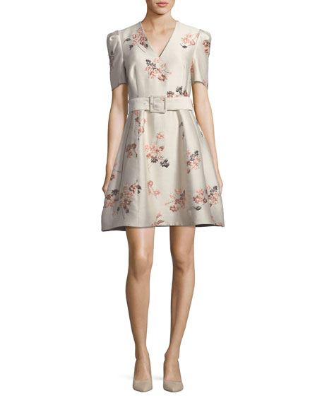 Co V-Neck Short-Sleeve Belted Fit-and-Flare Floral Jacquard Dress