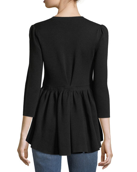 Button-Front Wool Knit Cardigan with Flounce Hem