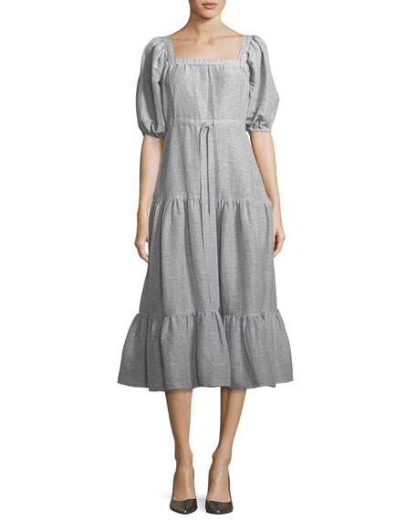 Square-Neck Tiered Stripe Linen Long Dress