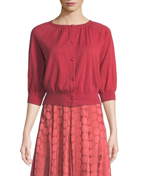 Co Pleated A-Line Tonal Dot Satin Midi Skirt
