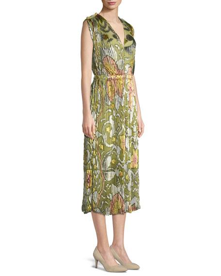 V-Neck Sleeveless Hand-Painted Velvet Plisse Silk Chiffon Dress