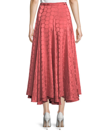 Pleated A-Line Tonal Dot Satin Midi Skirt