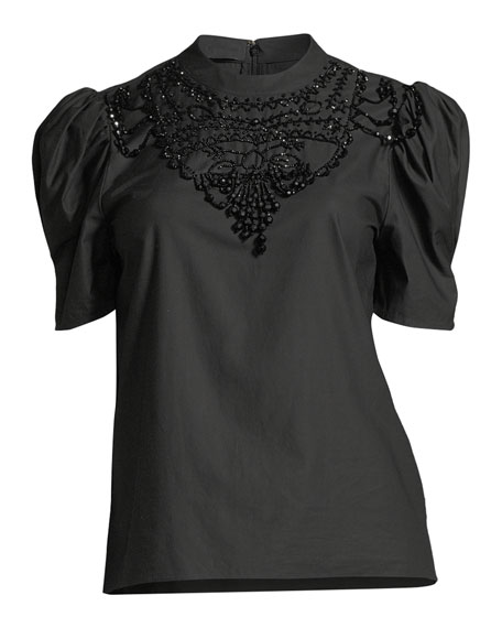 Pouf-Sleeve Beaded-Neck Cotton Poplin Top