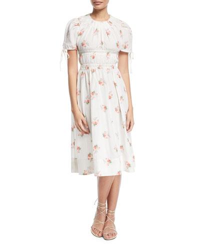 Dawney Orchid-Print Cotton-Silk Dress