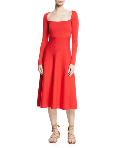 Kimmie Square-Neck Long-Sleeve Fit-and-Flare Knit Dress