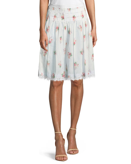 Brock Collection Floral-Embroidered Smocked-Waist A-Line Cotton Skirt