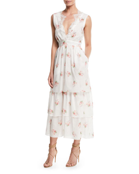Brock Collection Sleeveless V-Neck Floral-Print Tiered Dress w/