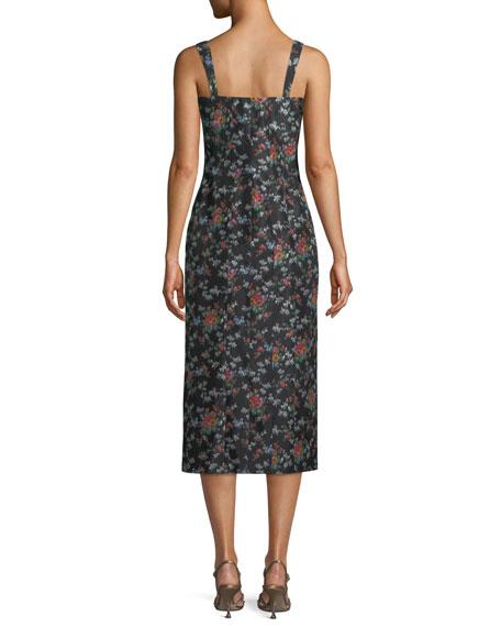 Sleeveless Square-Neck Rose-Print Silk Sheath Dress