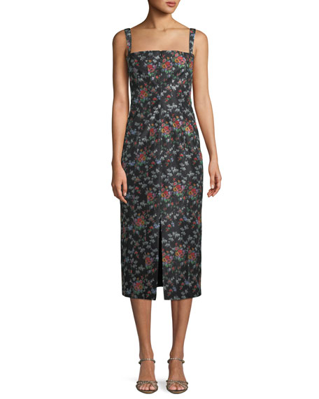 Brock Collection Sleeveless Square-Neck Rose-Print Silk Sheath