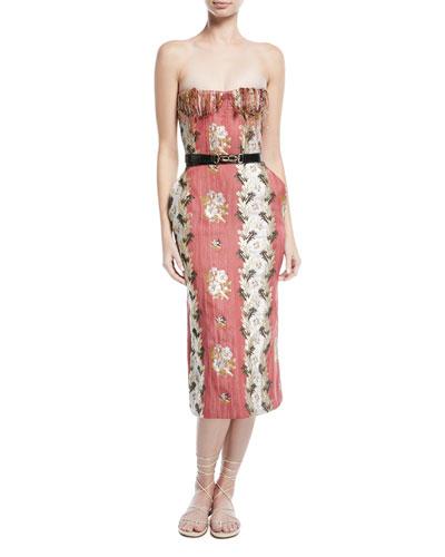 Delfina Strapless Shredded Bustier Floral-Jacquard Dress