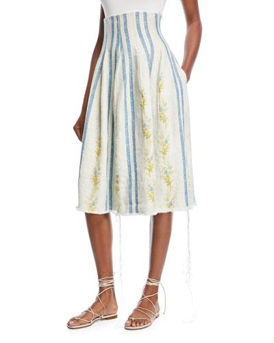 Sandra Corset Floral-Embroidered Stripe Linen Skirt