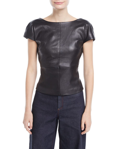 Rosetta Getty Backless Cap-Sleeve Fitted Leather Blouse and
