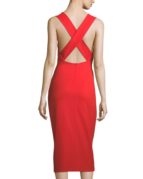 V-Neck Sleeveless Crisscross-Back Fitted Midi Dress