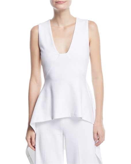 Rosetta Getty Deep-V Fitted High-Low Peplum Top