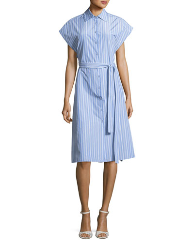 Button-Down Cap-Sleeve Striped Shirtdress
