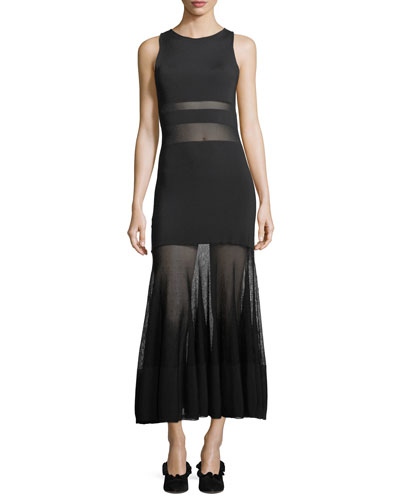 Sleeveless High-Neck Sheer Banded Long Cocktail Dress