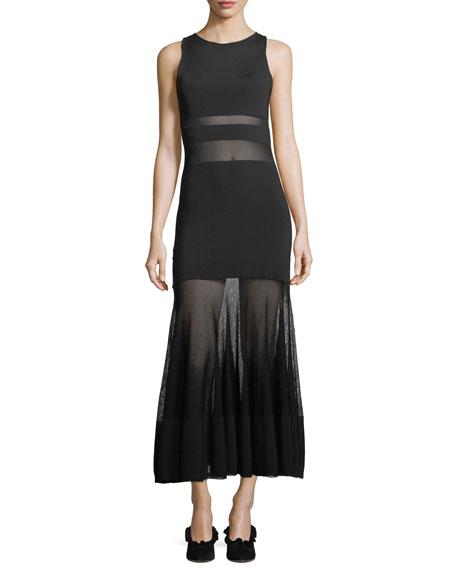 Sleeveless High-Neck Sheer Banded Long Cocktail Dress