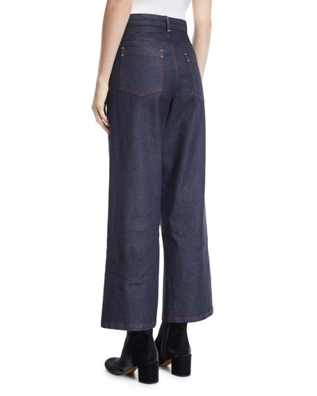 High-Waist Wide-Leg Denim Jeans
