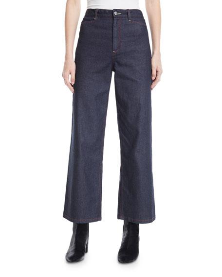 High-Waist Wide-Leg Denim Jeans
