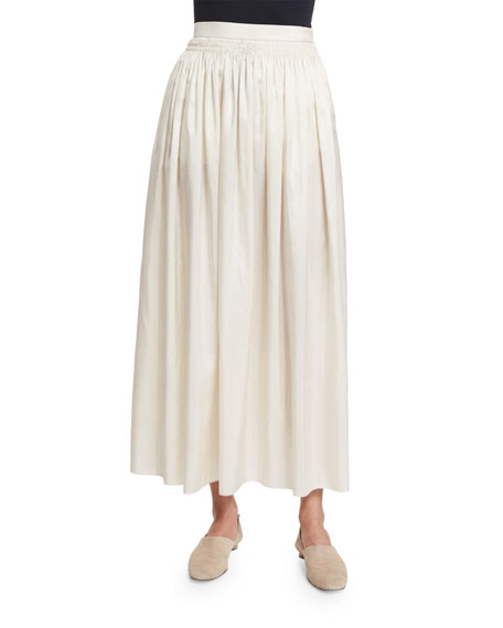 Tovo High-Waist Silk Full Midi Skirt, Old Lace