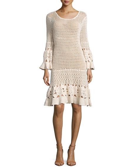 Michael Kors Long-Sleeve Crochet Dress, Vanilla