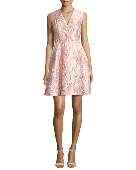 Nomotion Sleeveless Poppy Relief Cloqué Cocktail Dress, Pink