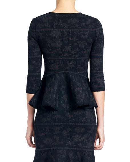 Zip-Front Peplum Knit Jacquard Jacket