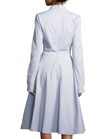Deep-V Long-Sleeve Cotton Twill Fit-and-Flare Midi Dress
