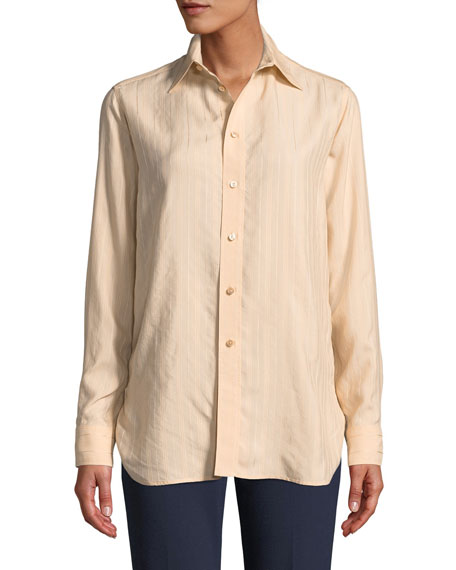 Cromwell Button-Front Long-Sleeve Striped Satin Shirt