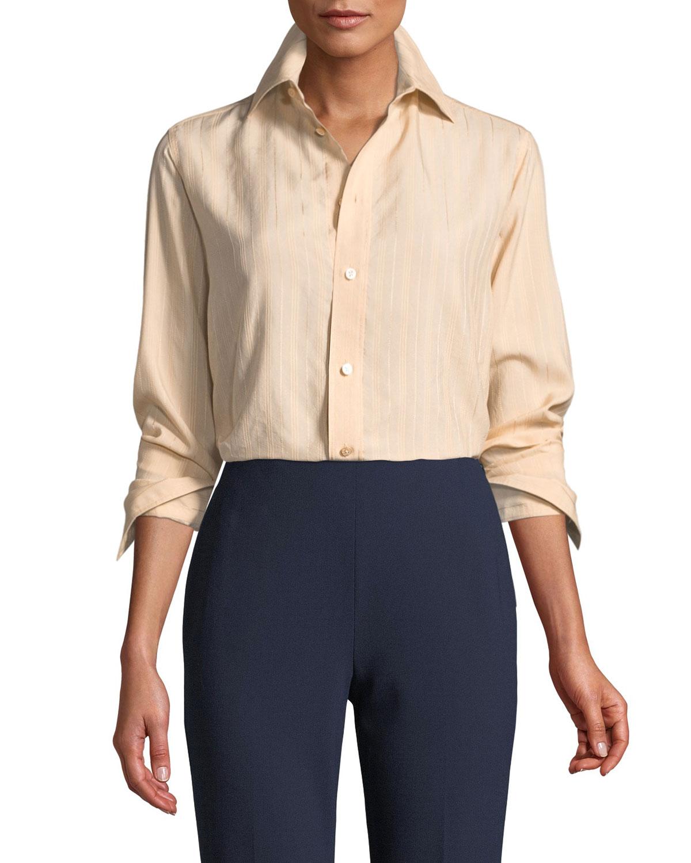 c1dfc8600b Ralph Lauren CollectionCromwell Button-Front Long-Sleeve Striped Satin Shirt