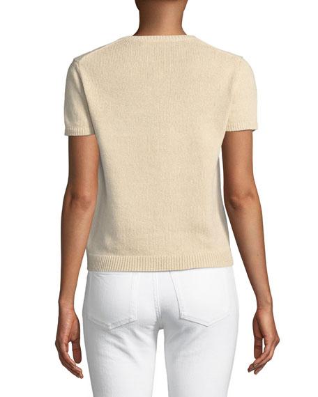 Crewneck Short-Sleeve Pastoral Scenic Intarsia Sweater