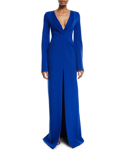 Deep V-Neck Long-Sleeve Flare Crepe Evening Gown
