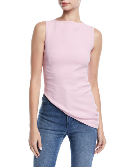 Brandon Maxwell Sleeveless High-Neck Asymmetric-Hem Crepe Top