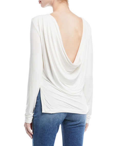 Long-Sleeve Draped-Back Jersey Top