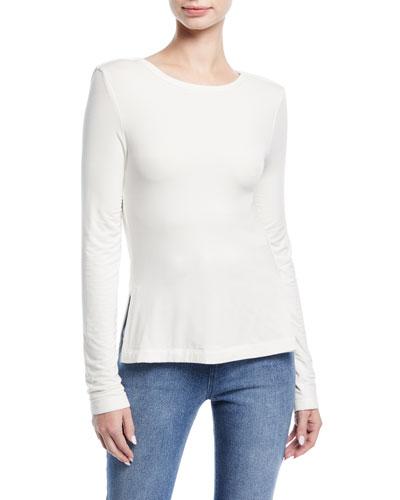 Long-Sleeve Draped-Back Jersey Top