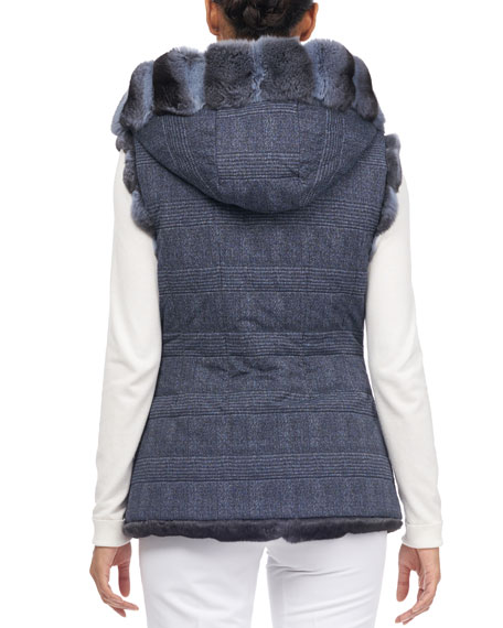 Zip-Front Hooded Reversible Chinchilla Fur Quilted Vest