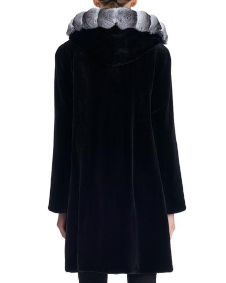 Semi-Sheared Hooded Mink Fur Stroller Coat with Chinchilla Trim