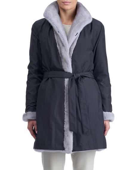 Directional Mink Fur Belted Reversible Coat