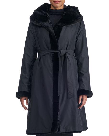 Reversible Belted Sheared Mink Fur Stroller Coat