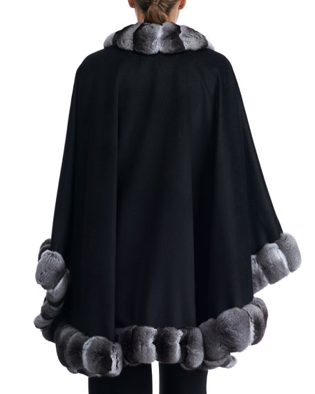 Cashmere Cape with Chinchilla Trim