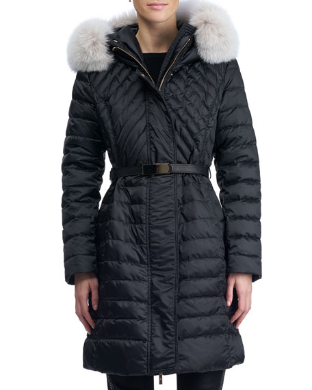 Apres-Ski Hooded Quilted Puffer Ski Jacket with Fox Fur Trim