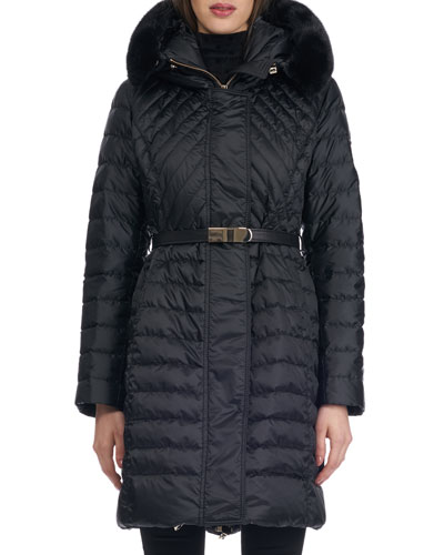 Hooded Quilted Puffer Après-Ski Jacket with Mink Trim
