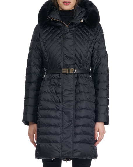 Hooded Quilted Puffer Apres-Ski Jacket with Mink Trim