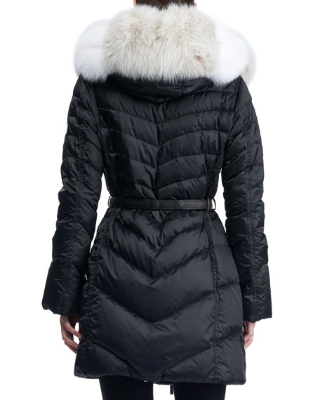Hooded Quilted Puffer Apres-Ski Jacket with Fox-Fur Trim