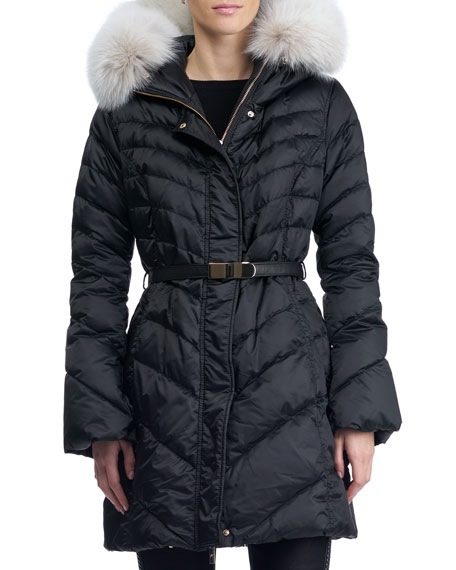 Gorski Hooded Quilted Puffer Après-Ski Jacket with Fox-Fur
