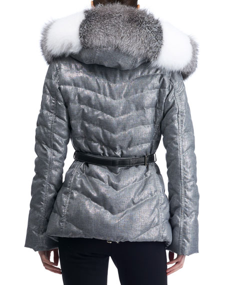 Hooded Quilted Puffer Après-Ski Jacket with Fox-Fur Trim