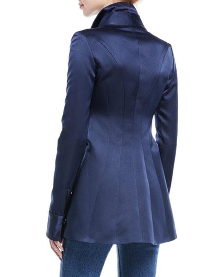 Stand-Collar Satin High-Low Hem Blouse