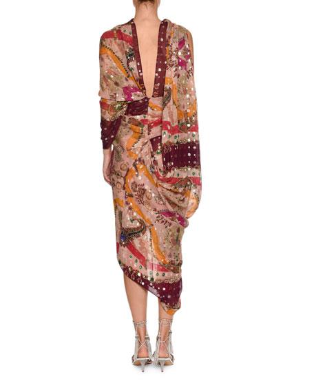 High-Neck Sleeveless Metallic Printed Draped Sari Dress
