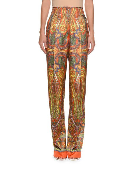 High-Waist Paisley-Print Silk Pants
